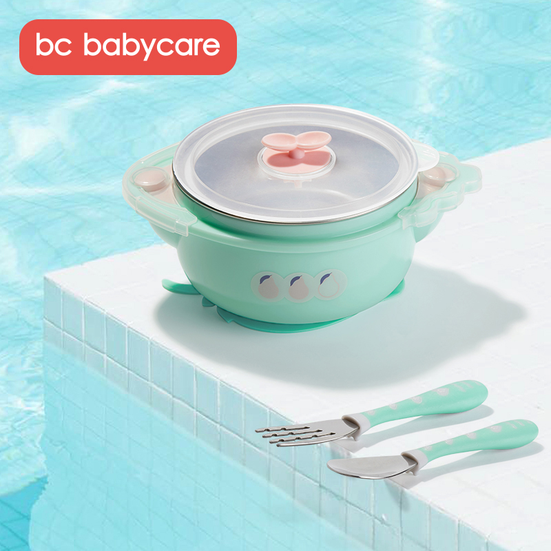 BC Babycare Baby Stainless Steel Water Injection Insulation Bowl Kids Dinnerware Complementary Food Bowl Set With Spoon Fork