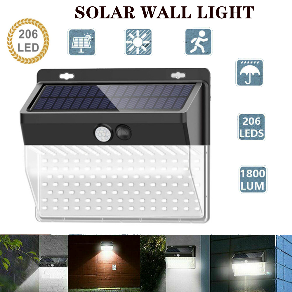 206LED Solar Light Outdoor Led Solar Lamp Motion Sensor Wall Light Waterproof Solar Powered Sunlight For Garden Decoration