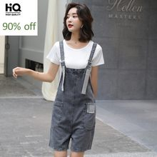 2020 sommer Mode Koreanische Lose Frauen Denim Playsuits Sleeveless Diamanten Strumpf Breite Bein Shorts Casual Weibliche Overalls(China)