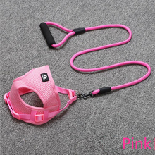 Dog Harness Adjustable Soft Breathable Dog Harness and Leash Set Nylon Mesh Vest Harness for Dogs Puppy Dogs Collar Chest Strap