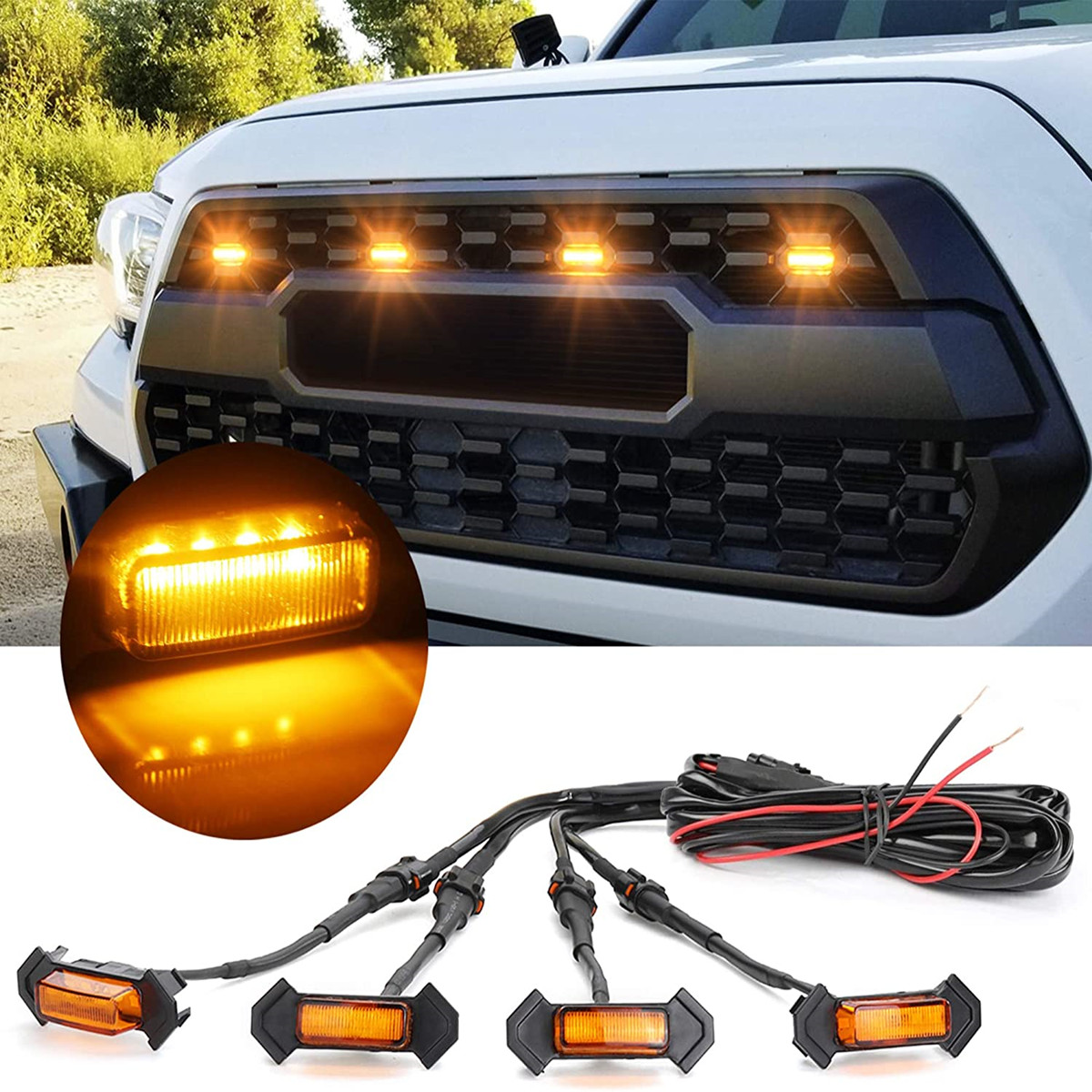 Auto LED Front Grill Lights High Brightness Amber Lamp for Tacoma 2016, 2017, 2018 TRD PRO Car Product Accessories