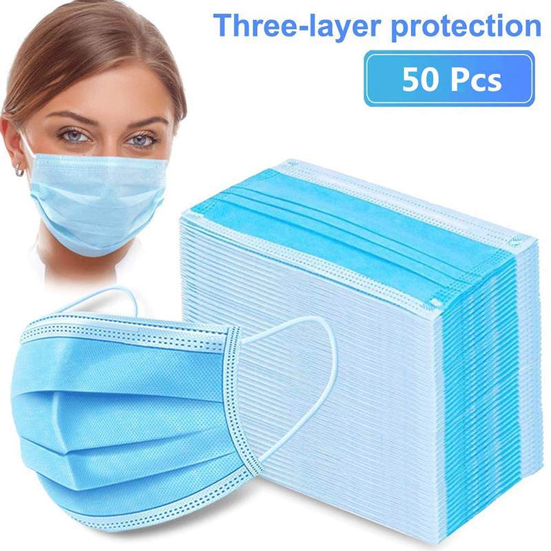 50pcs Coronavirus Mask 3 Layer Filter Disposable Covid 19 Anti Corona Virus Dust Safe Germ Protective Mouth Face Masks Non Woven