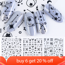 3D Stars Flower Decals Stickers for Nail Adhesive Wraps Black White Letter Nail Art Slider 3D Accessories Decoration CHCB133 141