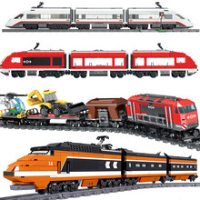 Rc trem ferroviário transporte série blocos de construção compatível técnico cidade controle remoto de alta velocidade ferroviário criança tijolos brinquedos