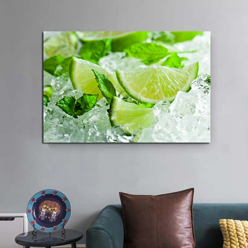 Fruit Fresh Lime Art Picture Canvas Printed Painting Artwork Wall Art Picture For Kitchen Home Decoration
