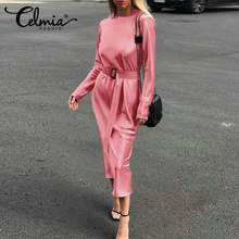 Elegant Dress Satin-Robe Celmia Long-Sleeve Midi Plus-Size Women's Fashion O-Neck Vestidos