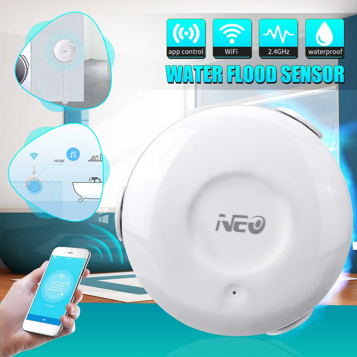 NEO White Smart WiFi Flood Sensor Alarm Water Leakage 2.4Ghz Indoor Overflow Detector Wireless Sensor APP Control Waterproof