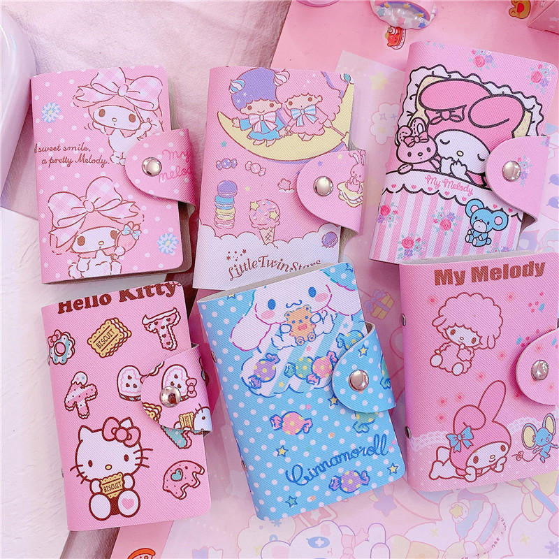 1Pc Lovely Cartoon Melody Cinnamoroll Credit Card Holder Women Travel Cards Wallet PU Leather Buckle Business ID Card Holders