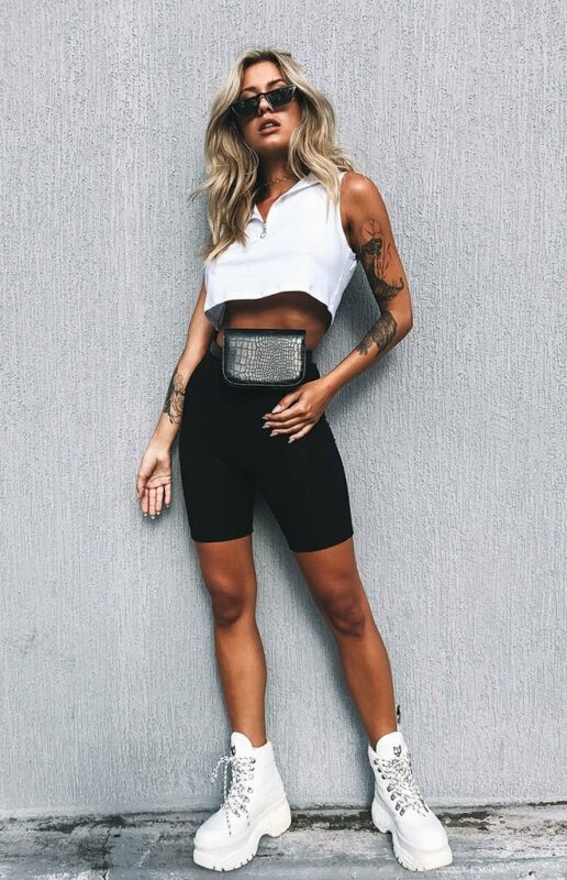 Hirigin 2020 Summer Women's Cycling Shorts Stretch Plain Casual Sports Fitness Ladies Elastic Waist Elastic Black Slim Shorts