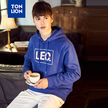 TONLION Men's Tops Blue and Black Mans Hooded Pullovers Long Sleeve Loose Men Hoodie Sport Sweatshirt 2020 Spring New