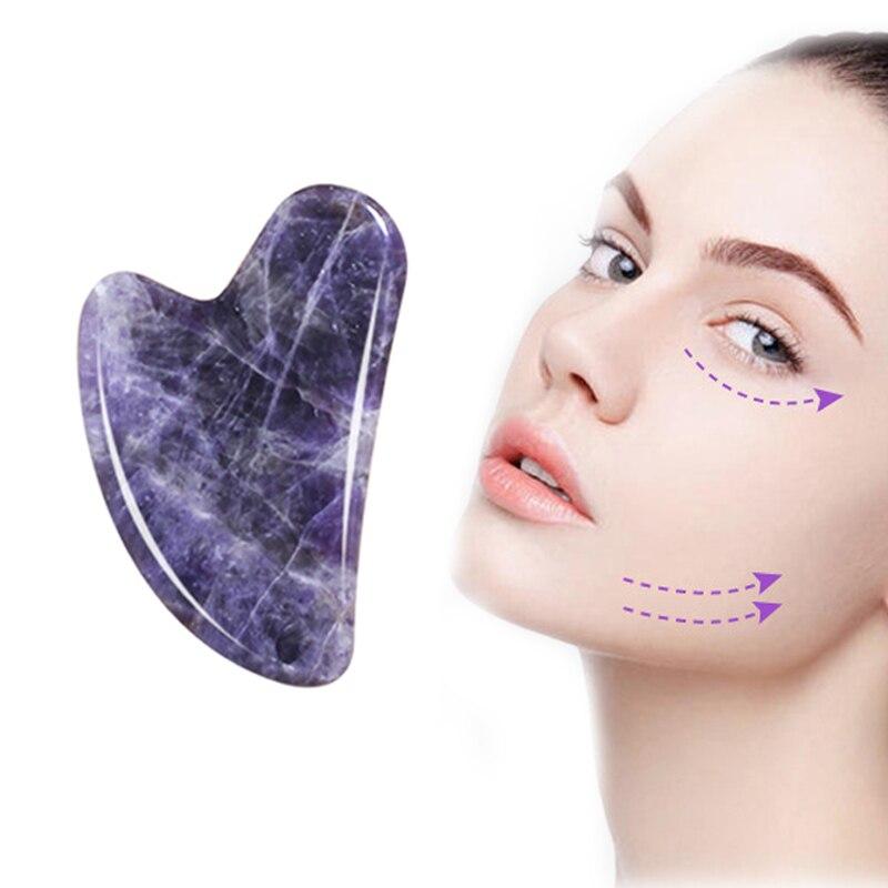 Natural Amethyst Gua Sha Stone Board Massage Guasha Plate Face Massager Scraper Tool For Face Back Neck Skin Lifting Slimming