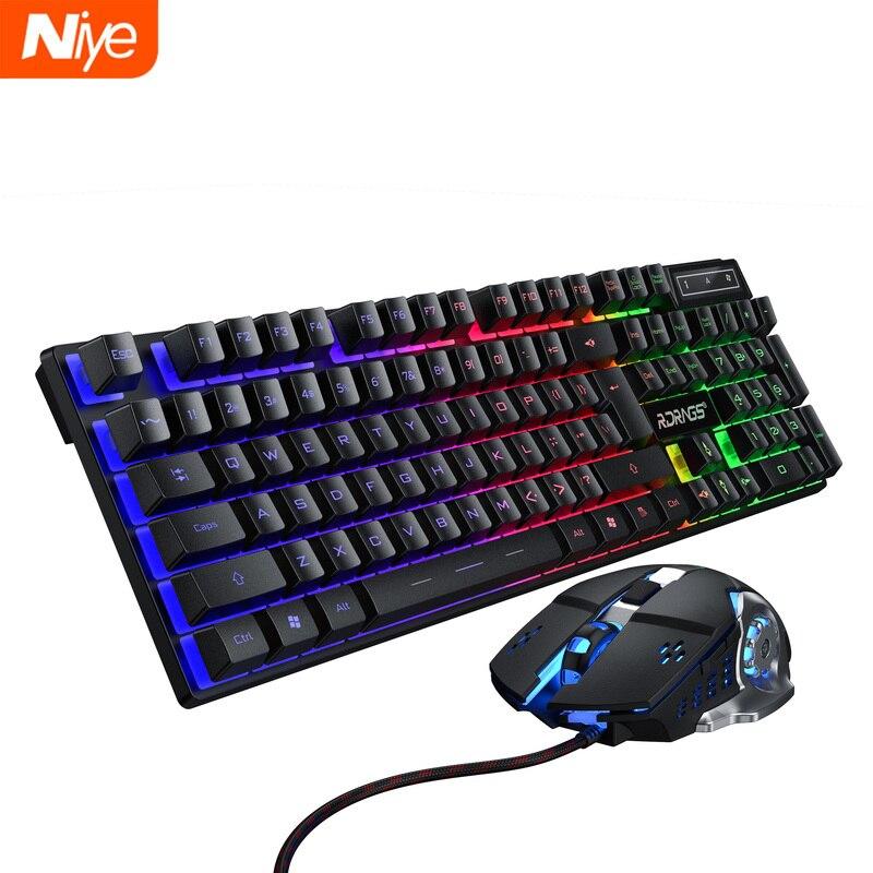 Oyun klavyesi ve fare kablolu arkadan aydınlatmalı klavye mekanik klavye oyun kiti sessiz 3200DPI oyun fare seti PC Laptop için