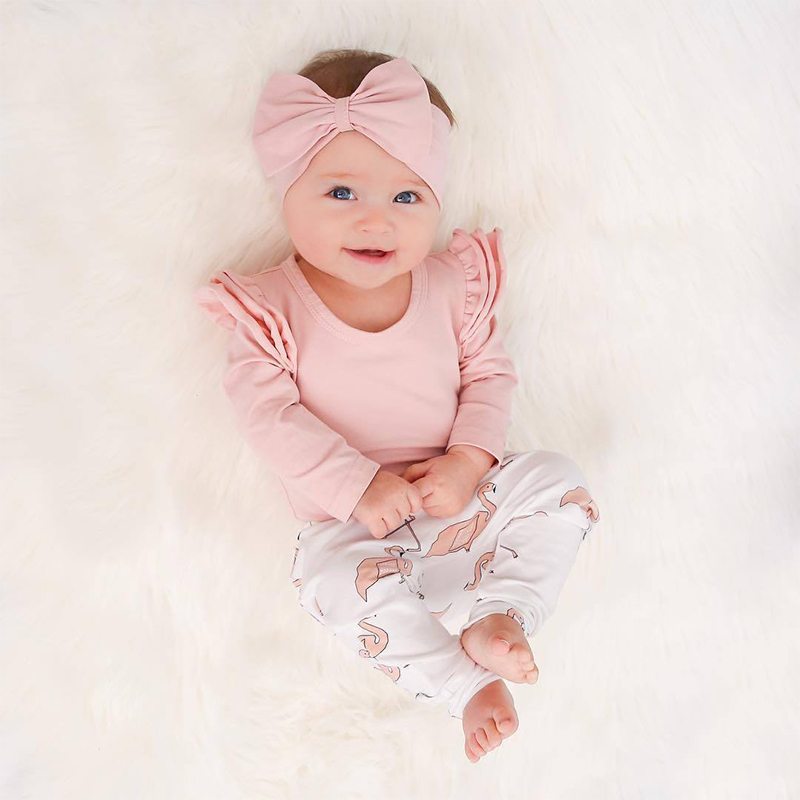 Newborn Infant Clothing Autumn Baby Girl Clothes Set Pink Ruffle Long Sleeve Tops Cartoon Flamingo Pants Headband 3Pcs Outfits