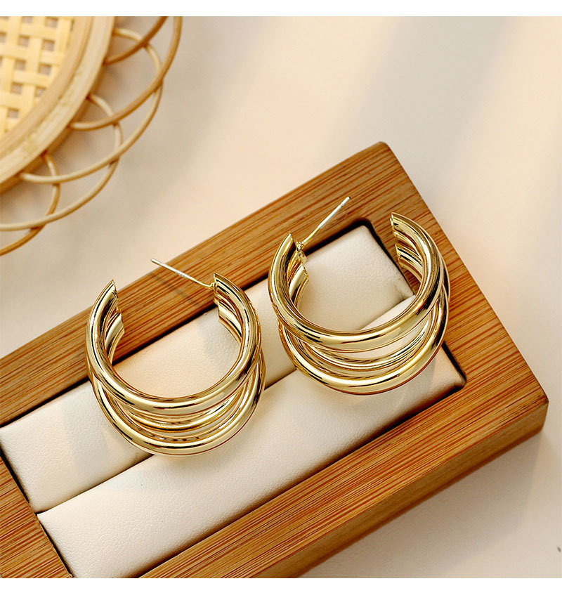 Linmouge Fashion Simple Style Earring Gold Color C-shaped Multilayer Metal Personality Wedding Engagement Elegant Earrings EF77