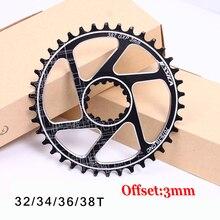MTB Della Bicicletta guarnitura GXP Fixed Gear Offset 3 millimetri Stretto Largo mountain anello Della Catena 32T 34T 36 38T Fit XX1 X9 XO X01 BB30 Bike Crank