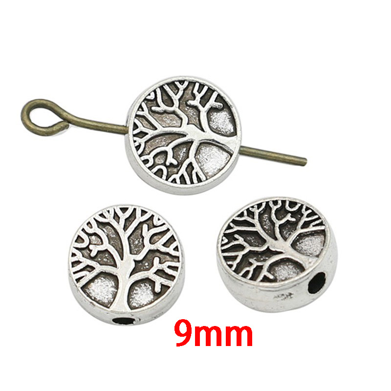 JAKONGO Tibetan Silver Plated Tree Of Life Spacer Beads For Jewelry Making Bracelet DIY Accessories Craft 20pcs