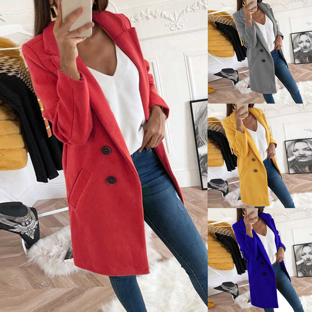 2019 New Coat Women Long Fleece Blend Coat Autumn Thin Slim Fit Jacket Lady Mujer Fashion Turn-down Collar Solid Casaco Feminino