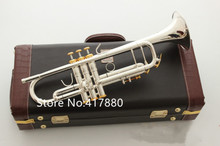High Quality  LT180S-37 Trumpet B Flat Silver Plated Professional Trumpet Musical Instruments with Case Free Shipping