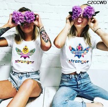 CZCCWD Female T-shirt Ulzzang Harajuku Fashion Stranger Things T Shirt Leisure Streetwear Best Friends Tshirt Hipster Grunge Top(China)