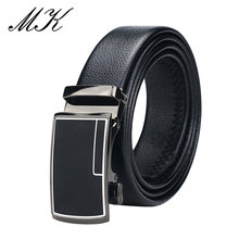 Maikun Automatic Belts for Men Metal Geometric Pattern Buckle Belt Luxury Designer Brand Leather
