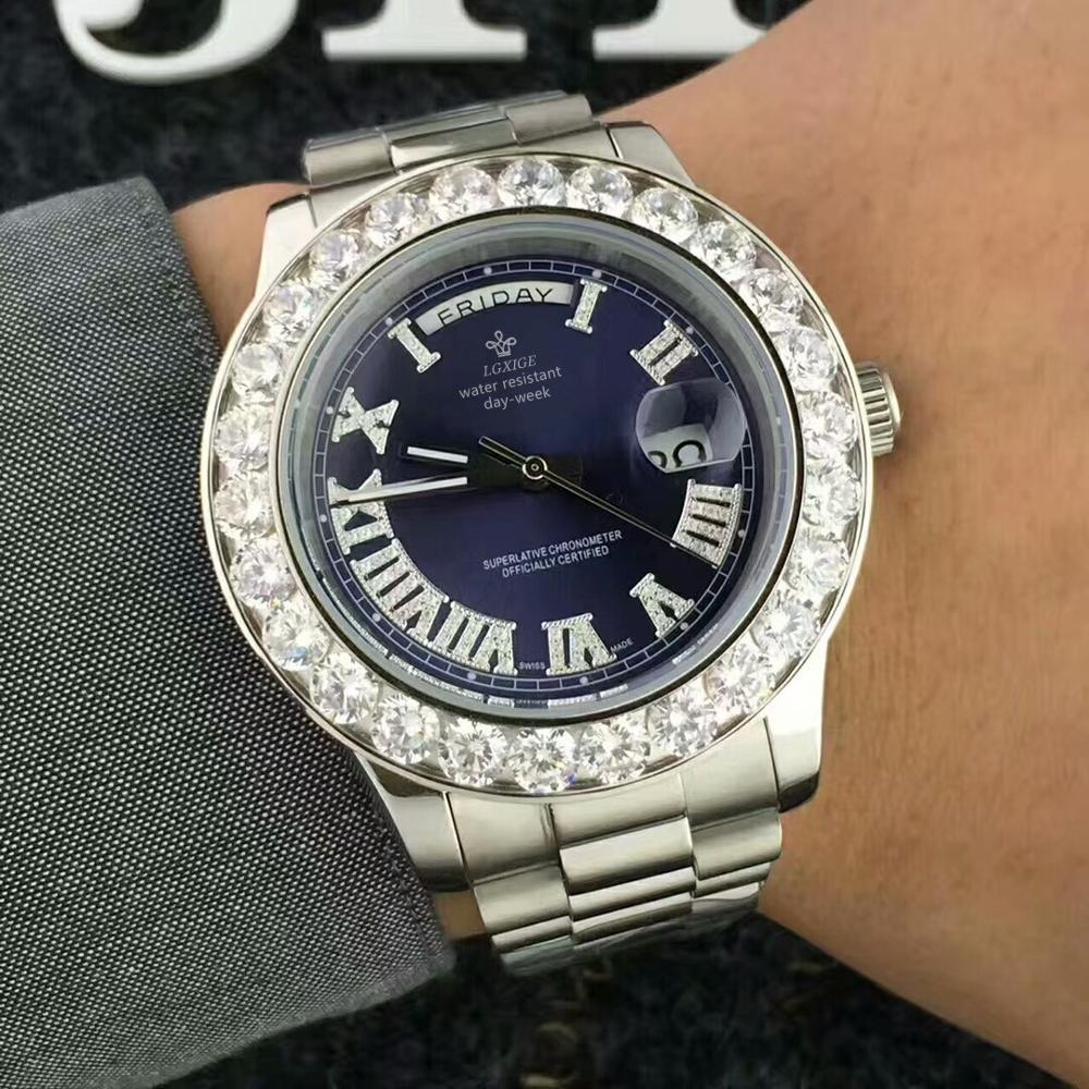 Hot Date Watch 40MM Diamond Watch Luxury Brand Replica LGXIGE Gold Watch Men Gift Geneva AAA