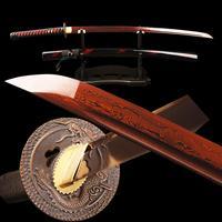 سيف كاتانا الساموراي الياباني الأحمر سيوف براندون مطوية من الفولاذ شفرة دمشق جاهزة للمعركة سكين ممارسة القطع الحادة