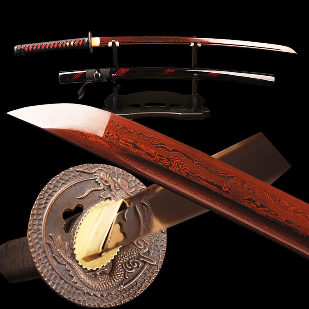 Brandon Swords Red Japanese Samurai Katana Sword Folded Steel Damascus Blade Battle Ready Espadas Sharp Cutting Practice Knife