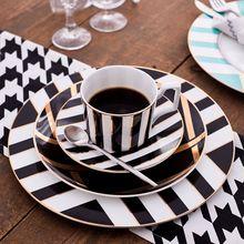 8 i 10 5 cala złota wkładka płyta ceramiczna luksusowy zestaw płytkich talerzy talerz sałatkowy ciasto płyta ceramiczne naczynia stołowe płyta zestaw podarunkowy tanie tanio WeCollection ROUND Geometryczny Wzór safe pack WE636