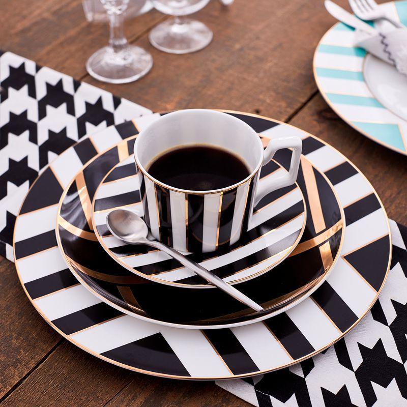 Assiette en céramique incrustation d'or | 8 et 10.5 pouces, service d'assiettes à dîner de luxe, assiette à salade, assiette à gâteau, assiette de vaisselle en céramique, ensemble cadeau