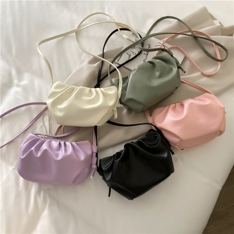 2020 New Fashion Women Genuine Leather Handbag High Quality Thick Metal Chain Cloud Dumplings Clutch Bag Female Shoulde Bags