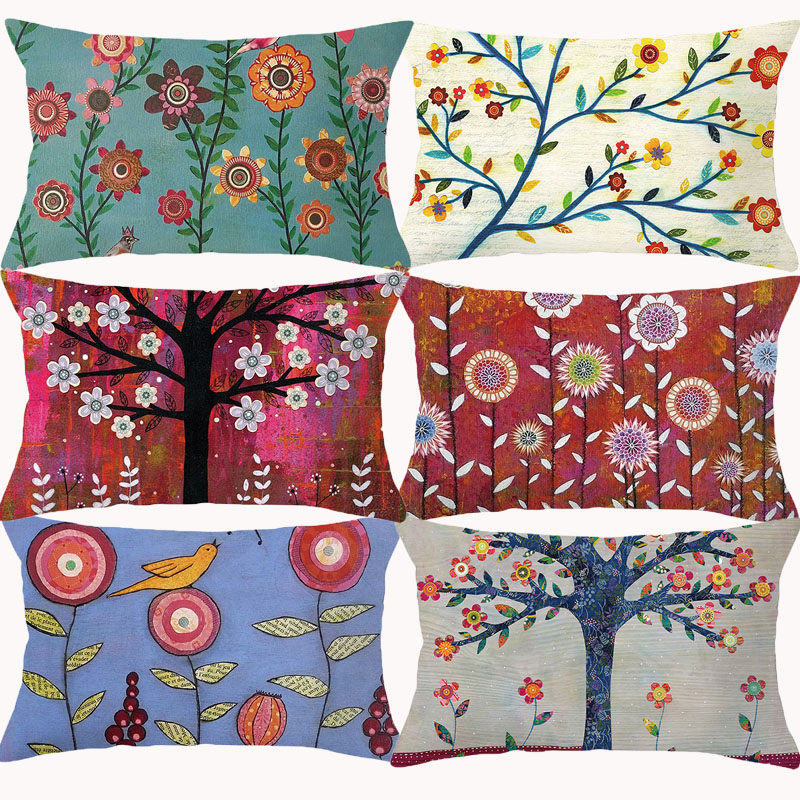 Cartoon Tree Flower Painting Cushion Cover 30x50 Children Room Decor Decorative Pillowcase Throw Pillows For Couch Pillow Covers