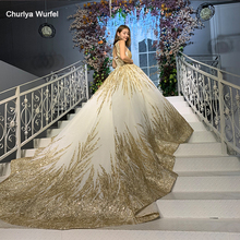 HTL927 african gold wedding dresses halter detachable high shoulder chain shiny bead for bride bestidos свабедное платье