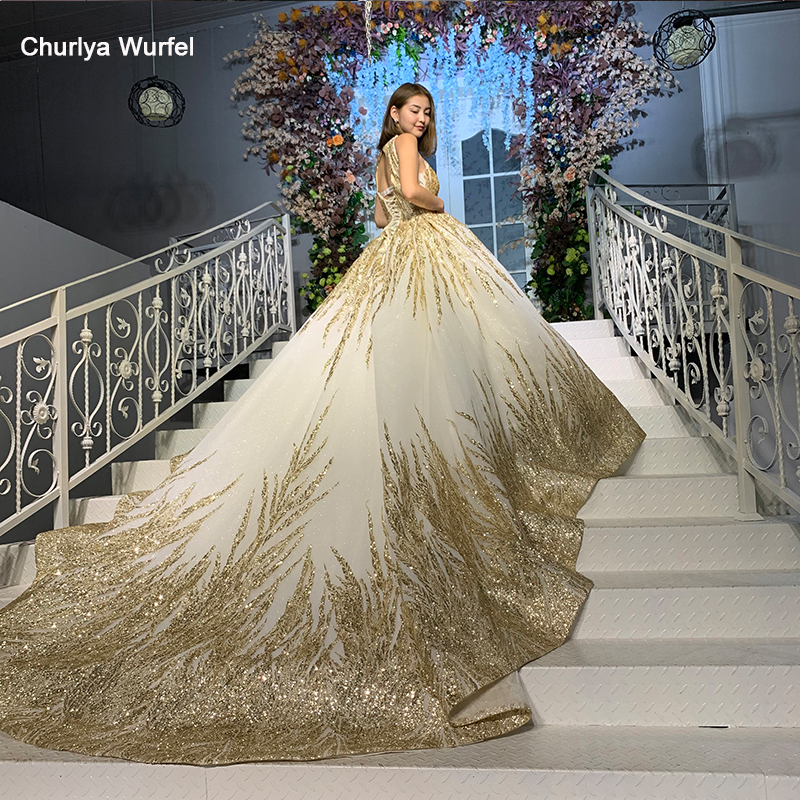 HTL927 Gold Wedding Dresses Halter Detachable High Shoulder Chain Shiny Bead African Wedding Gowns For Bride Bestidos De Novia