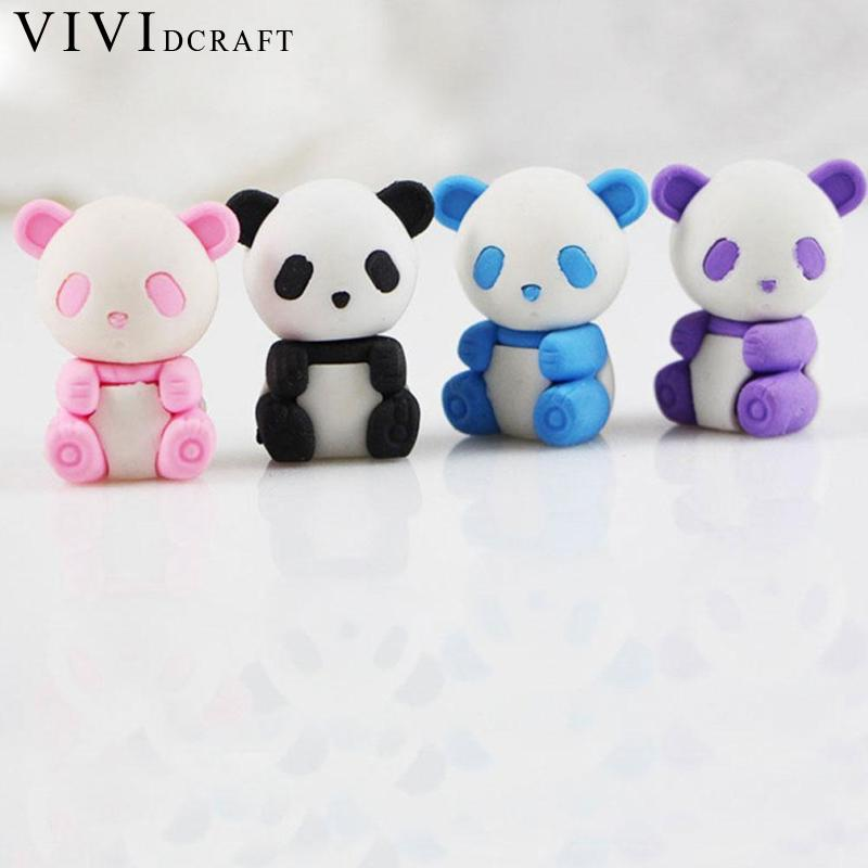 Vividcraft 4 Pcs/Lot Cartoon Eraser Lovely Panda Eraser Stationery Supplies Gift School Children Prizes Papelaria Kawaii M6D8
