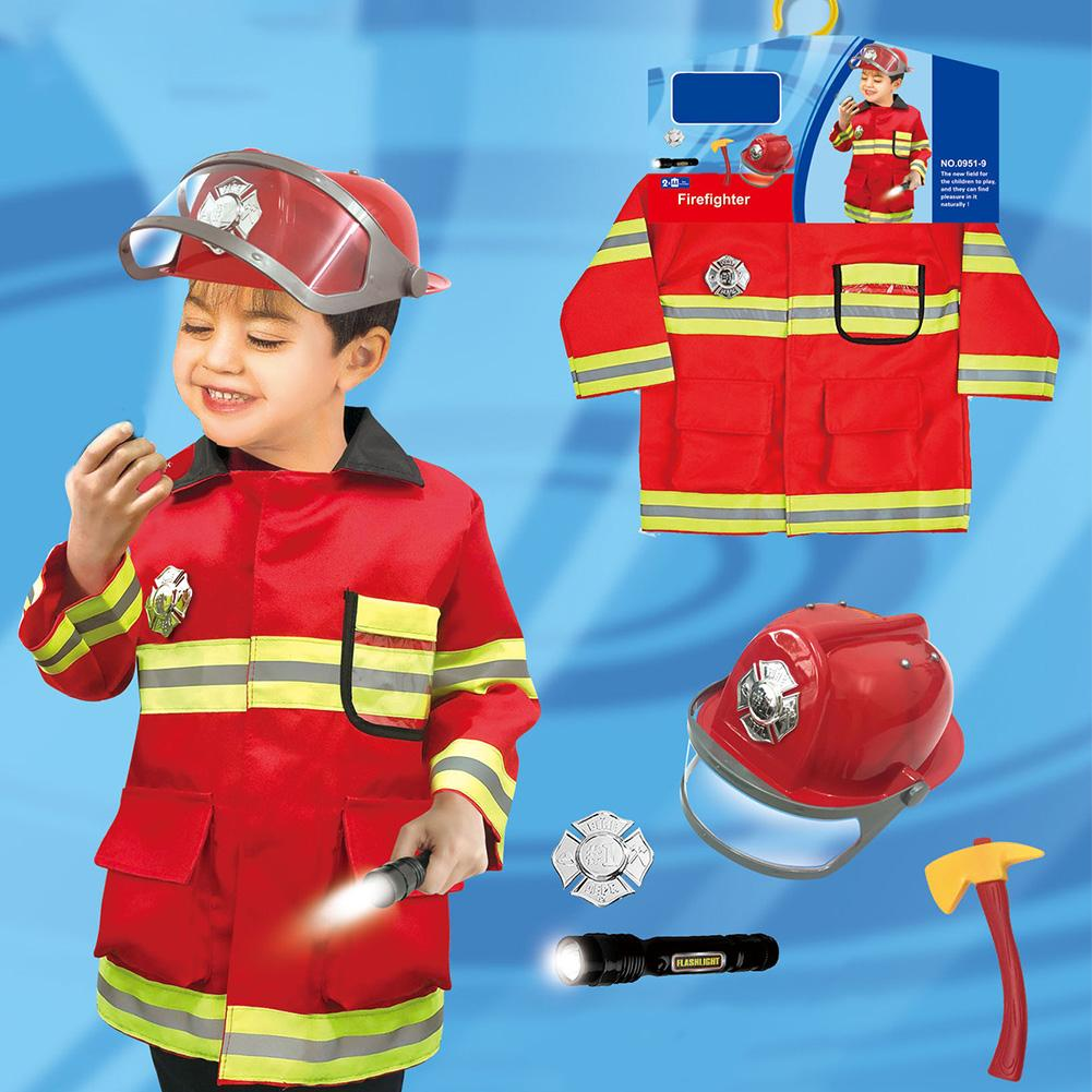 Children's Firefighter Suit Role-playing Props Holiday Fireman Costume Toy For Kid Pretend Role Play In Stock