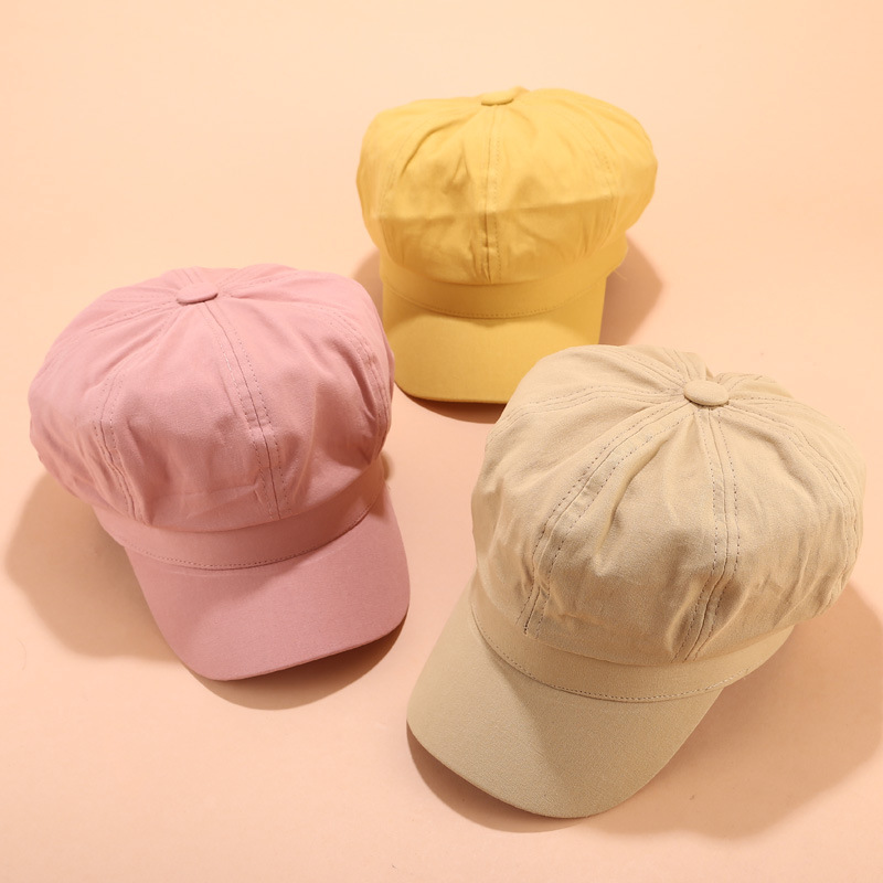 <font><b>News</b></font> Autumn Winter Women Plain Blank Cotton Berets Ivy Hat Casual Men Solid Octagonal Visor Caps image