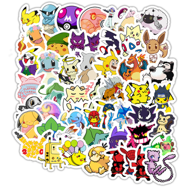 50 PCS Cute Pokemoner Go Sticker Avengers Spiderman Pikachu Waterproof For Scrapbook Laptop Phone Skateboard Guitar Classic  Toy