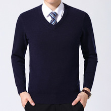 Knitted Sweaters Jersey Pullover V-Neck Long-Sleeve Business Male Men's Brand Warm Casual