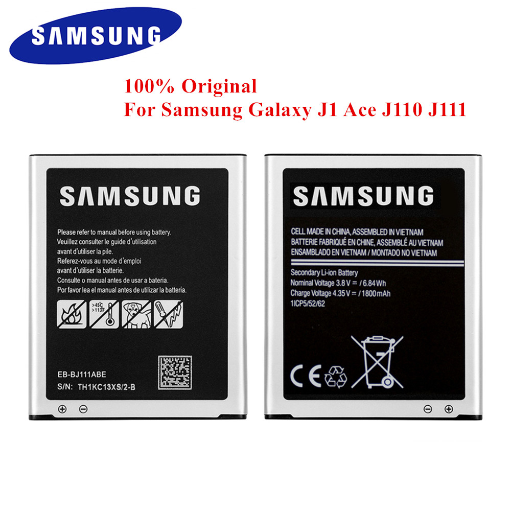 100% Original <font><b>Battery</b></font> EB-BJ111ABE for <font><b>Samsung</b></font> Galaxy <font><b>J1</b></font> <font><b>Ace</b></font> J110 SM-J110F J110H J110F J110FM 1800mAh Real Capacity Akku image