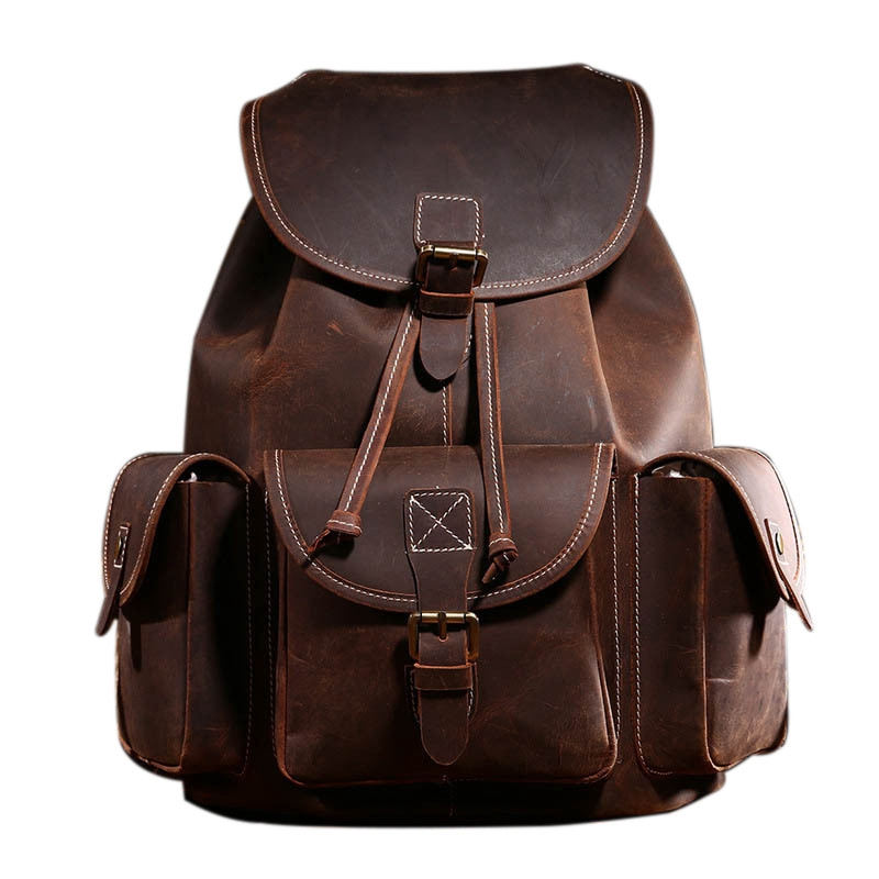 JHD-BAOERSEN Crazy Horse Cowhide First Layer Knapsack Male Computer Bag School Bags Vintage Leather Rucksack Men Backpack