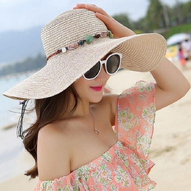 Women's hat summer wide brim straw hats big sun hats uv protection panama  floppy beach hats ladies bow hat chapeau femmel