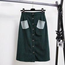 Новое поступление зеленая Вельветовая юбка Женская приталенная
