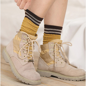 Elifashion Korean Version Autumn & Winter Tube Socks Retro Women Socks Warm & Breathable Long Tube Pile Cotton Socks 2 Wear  Way 5 pairs women s socks medium and long tube double g letter autumn and winter thickness all match cotton pile pile