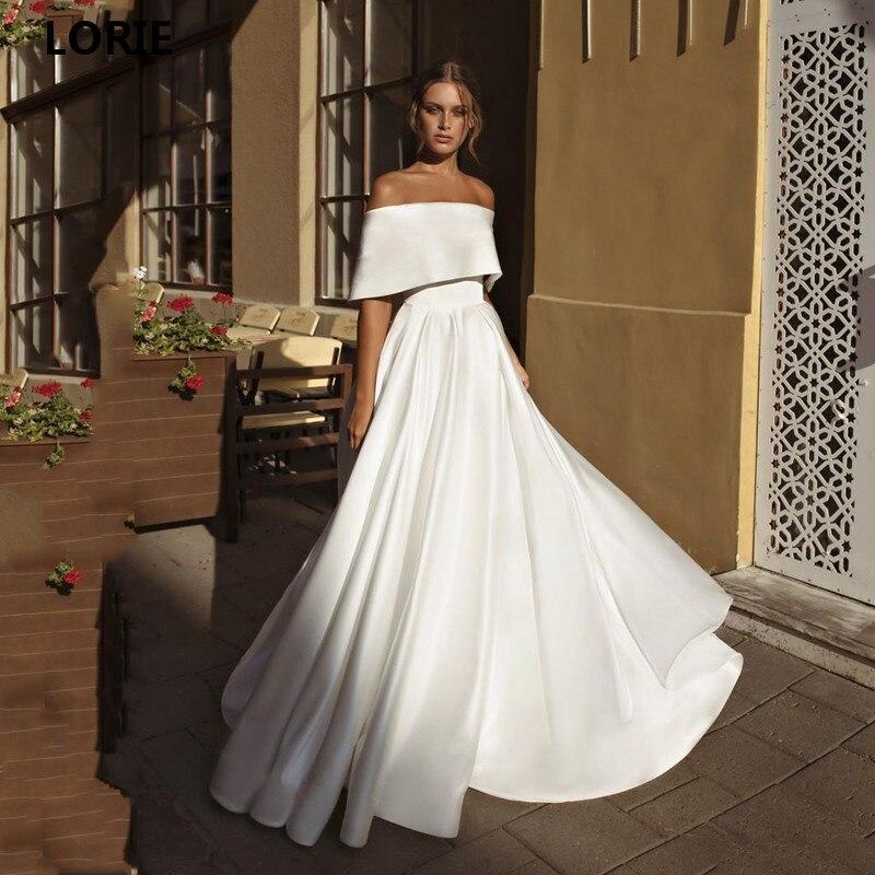 LORIE A Line Princess Wedding Dresses Satin Off The Shoulder Boho Bride Gowns Floor Length  Vestido De Voiva