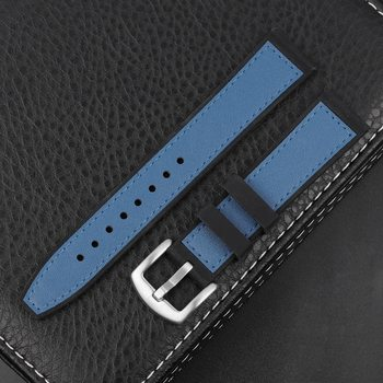 Onthelevel Leather Silicone Watch Strap For Samsung Galaxy Watch Active 42 46mm Gear Sport S3 Fashion Blue Black Wrist Band #E fashion silicone band round mirror dial blue led light wrist watch black 1 x cr2016