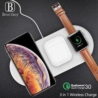 3 in 1 Qi Wireless Charger Pad 2W ricarica magnetica per iWatch Series 4 3 2 1 ricarica rapida Wireless per Samsung iPhone ipod Pro
