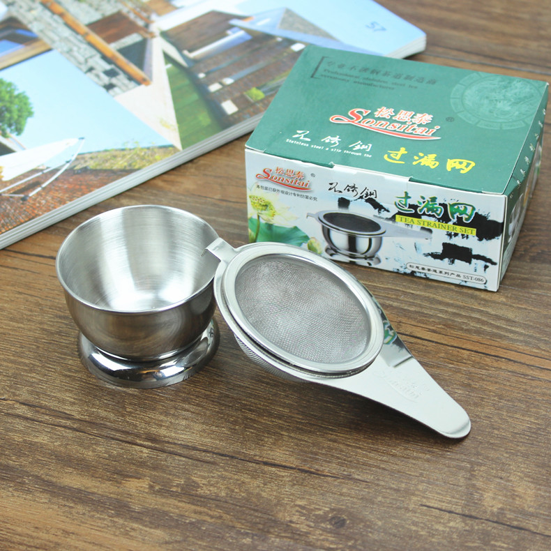 [GRANDNESS] Lipin Stainless Steel Mesh Tea Strainer & Stand Boling Stainless Steel
