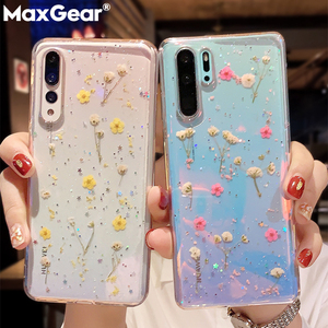 Pressed Real Dried Flower Glitter Clear Case For Xiaomi Red Mi 10 Pro A3 Redmi Note 8 7 Pro 7A 8T K30 Transparent TPU Soft Cover