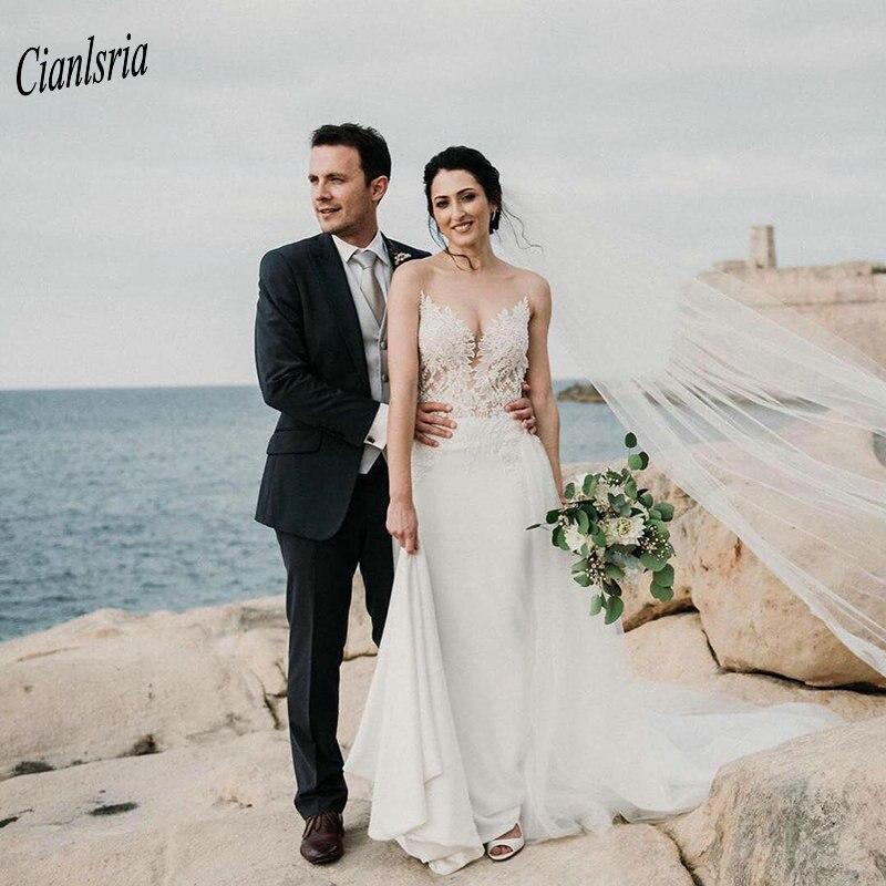 Sexy v-cou Illusion Top longue robe de mariée sirène avec Datechable Train sans manches Appliques dentelle pays robes de mariée de mariée