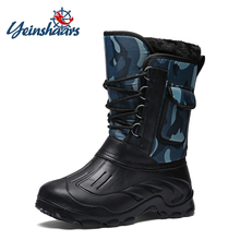 YEINSHAARS Men Boots Platform Thick Plush Warm Snow Camouflage Waterproof With Fur Winter Shoes Slip-resistant